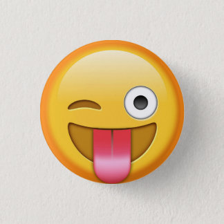 Badge Rond 2,50 Cm Cligner de l'oeil l'insigne de smiley d'emoji