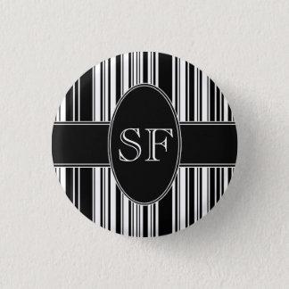 Badge Rond 2,50 Cm Code barres noir et blanc
