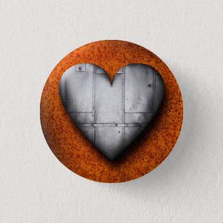 Badge Rond 2,50 Cm Coeur de tôle sur le bouton rouillé d'arrière -