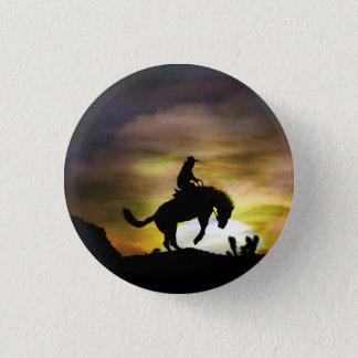 Badge Rond 2,50 Cm Cowboy et bouton s'opposant de cheval
