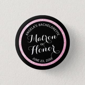 Badge Rond 2,50 Cm Dame de honneur noire Bachelorette de