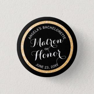 Badge Rond 2,50 Cm Dame de honneur noire Bachelorette de parties