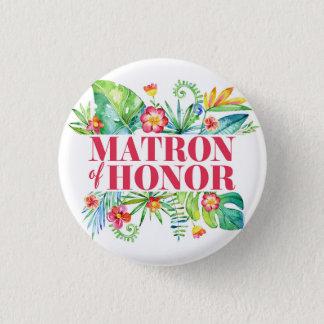 Badge Rond 2,50 Cm Dame de honneur tropicale de mariage de