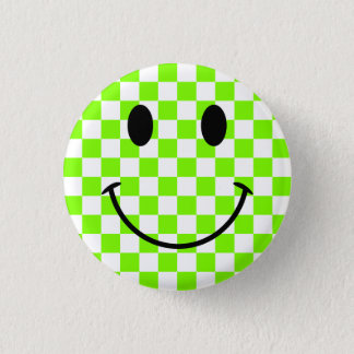 Badge Rond 2,50 Cm Damier Chartreuse et visage souriant noir