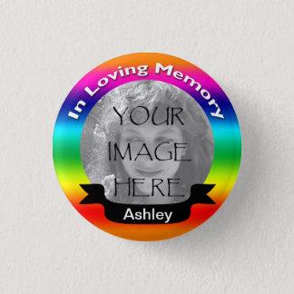 Badge Rond 2,50 Cm Dans le bouton affectueux de photo d'arc-en-ciel