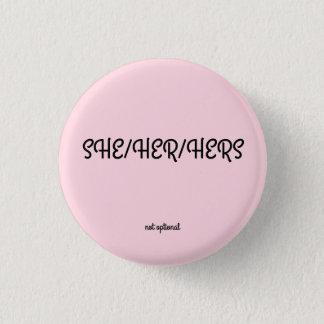 Badge Rond 2,50 Cm Elle/elle/sienne bouton de pronom