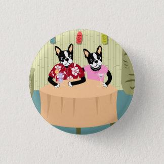 Badge Rond 2,50 Cm Garçon et fille de Boston Terrier