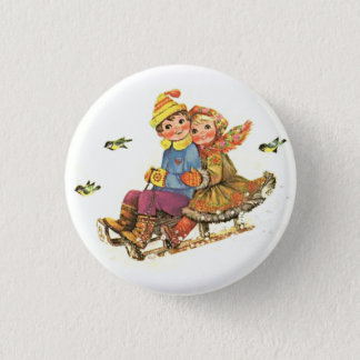 Badge Rond 2,50 Cm garçon et fille jouant le ski