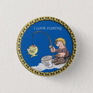 Badge Rond 2,50 Cm Grande pêche basse de pêcheur sur la glace