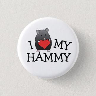 Badge Rond 2,50 Cm I coeur mon bouton Hammy de Syrien d'ours noir