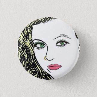 Badge Rond 2,50 Cm Image blonde muette de frappeur de goupille de