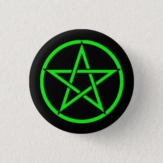 Badge Rond 2,50 Cm Insigne noir et vert de bouton de pentagone étoilé