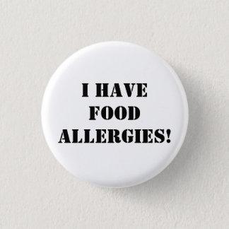 Badge Rond 2,50 Cm J'ai des allergies alimentaires !