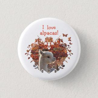 Badge Rond 2,50 Cm J'aime le bouton d'alpaga