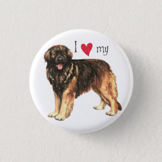 Badge Rond 2,50 Cm J'aime mon Leonberger