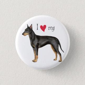 Badge Rond 2,50 Cm J'aime mon Manchester Terrier