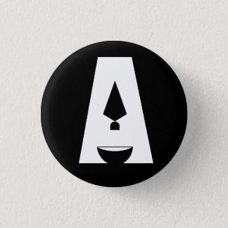 """Badge Rond 2,50 Cm Jour de bouton noir de logo de l'archéologie """"A"""""""
