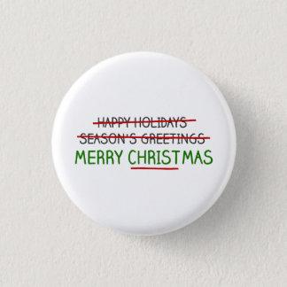 Badge Rond 2,50 Cm Joyeux Noël, pas Bonnes Fêtes