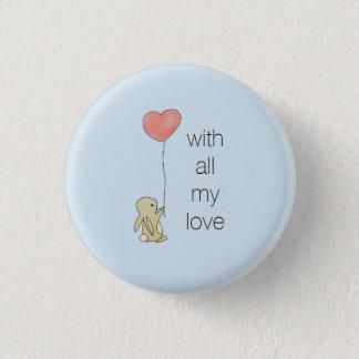 Badge Rond 2,50 Cm Lapin de Roo - ballon de coeur d'amour
