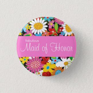 Badge Rond 2,50 Cm Le ressort fleurit épousant la domestique chic de
