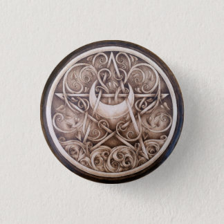 Badge Rond 2,50 Cm L'eau, vignes, et Pin de bouton de pentagramme de