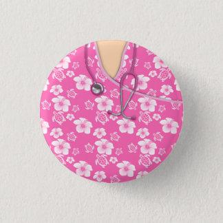 Badge Rond 2,50 Cm Les tortues de fleurs roses et blanches médicales