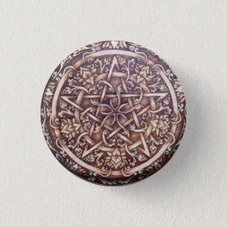 Badge Rond 2,50 Cm Lotus et Pin de bouton de pentagramme de rouleaux