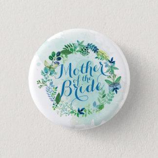 Badge Rond 2,50 Cm Mère du bouton de Pin d'aquarelle de jeune mariée
