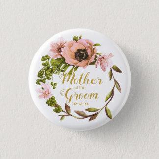 Badge Rond 2,50 Cm Mère rose de guirlande de pivoine du marié ID456