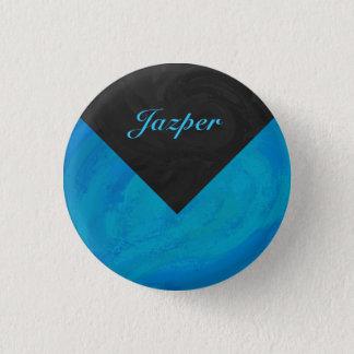 Badge Rond 2,50 Cm Monogramme de bleu et de noir d'océan