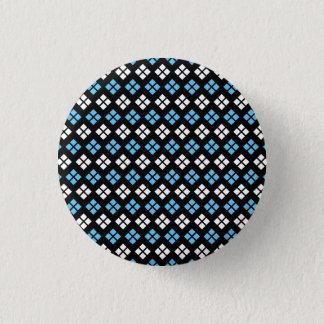 Badge Rond 2,50 Cm Motif à motifs de losanges élégant de bleu et de