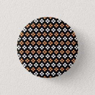 Badge Rond 2,50 Cm Motif à motifs de losanges orange-clair et blanc