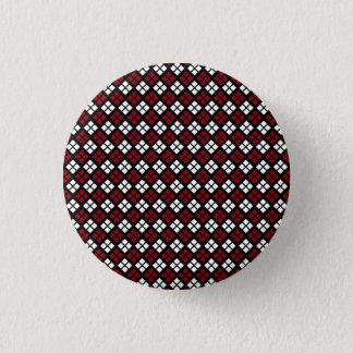 Badge Rond 2,50 Cm Motif à motifs de losanges rouge et blanc élégant