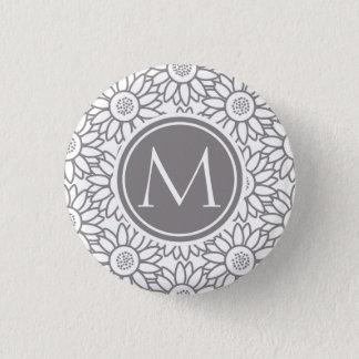 Badge Rond 2,50 Cm Motif élégant de tournesol décoré d'un monogramme