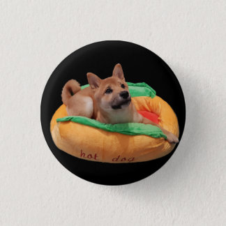 Badge Rond 2,50 Cm Noir d'insigne de Shiba de hot-dog