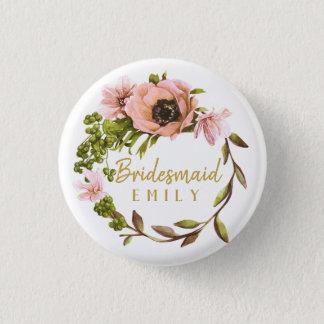 Badge Rond 2,50 Cm Nom rose ID456 de demoiselle d'honneur de