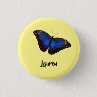 Badge Rond 2,50 Cm Papillon bleu de Morpho personnalisé avec le nom