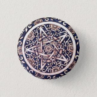 Badge Rond 2,50 Cm Pin rose sauvage de bouton de pentagramme