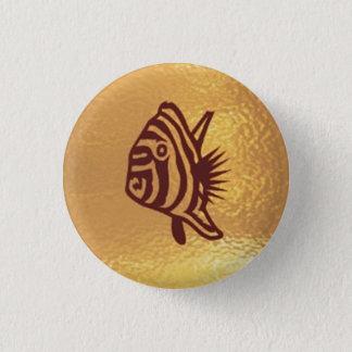 Badge Rond 2,50 Cm Poissons Goldstar exotique - base d'or d'icône de