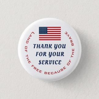 Badge Rond 2,50 Cm Service actif ou Merci retiré de militaires de