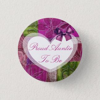 Badge Rond 2,50 Cm Tante fière à être bouton rose de baby shower