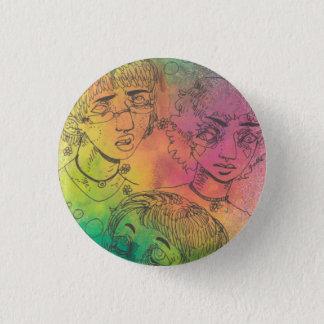 Badge Rond 2,50 Cm Trois Pin coloré des amis |