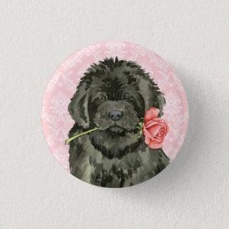 Badge Rond 2,50 Cm Valentine Terre-Neuve rose