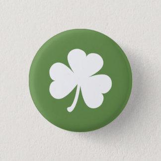 Badge Rond 2,50 Cm Vert de mousse avec le shamrock irlandais