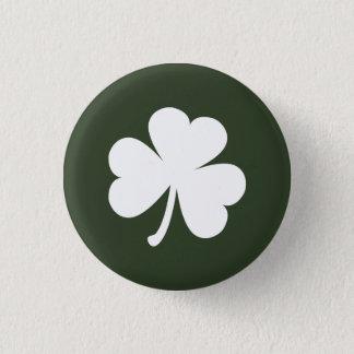 Badge Rond 2,50 Cm Vert forêt avec le shamrock irlandais