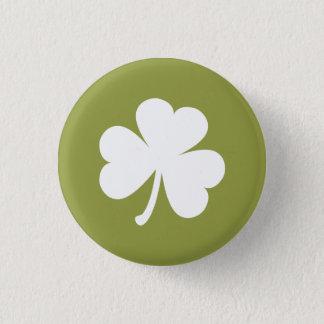 Badge Rond 2,50 Cm Vert olive avec le shamrock irlandais