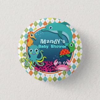 Badge Rond 2,50 Cm Vie marine sur le Jacquard coloré ; Baby shower