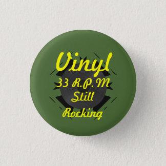 Badge Rond 2,50 Cm Vinyle 33 t/mn basculant toujours 3 verts/jaune