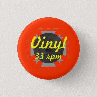 Badge Rond 2,50 Cm Vinyle 33 t/mn/jaune/orange