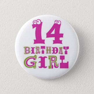 Badge Rond 5 Cm 14ème Insigne de bouton de fille d'anniversaire